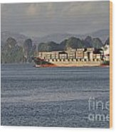 Container Ship In Halong Bay Wood Print