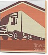 Container Truck And Trailer Flames Retro Wood Print