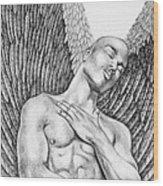 Contemplating Black Male Angel  Wood Print