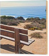 Contemplation Bench At The Oceans Edge Wood Print