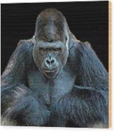 Contemplative Gorilla Wood Print
