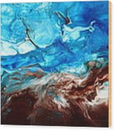 Contemporary Blue Abstract Art Fluid Painting-rapid By Kredart Wood Print