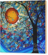 Contemporary Modern Art Original Abstract Landscape Painting Blue Essence By Megan Duncanson Wood Print