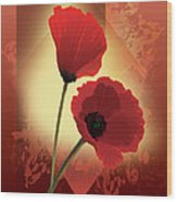 Contemporary Wild Poppies Wood Print
