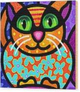 Contented Cat Wood Print