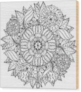 Contoured Mandala Shape Flowers For Wood Print