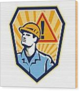 Contractor Construction Worker Caution Sign Retro Wood Print