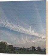 Contrail Clouds Wood Print