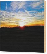 Contrail Sunset Wood Print