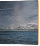 Contrails And Rainclouds Over Lake Michigan Wood Print