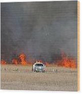 Controlled Burn And Brush Truck Wood Print