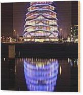 Convention Centre Dublin By Night Wood Print