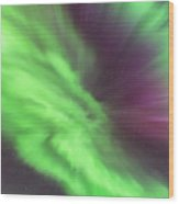 Converging Curtains Of Aurora Wood Print