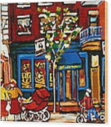 Conversation At St Viateur Bagel Paintings Mehadrin Kosher Deli Authentic Vintage Montreal Cspandau Wood Print