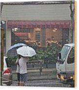 Conversation In The Rain Wood Print