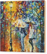 Conversation - Palette Knife Oil Painting On Canvas By Leonid Afremov Wood Print
