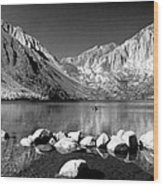 Convict Lake Pano In Black And White Wood Print