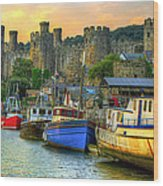 Conwy Castle And Harbour Wood Print