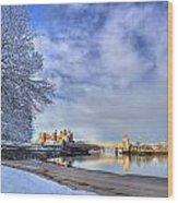 Conwy Castle Snow Wood Print