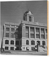 Cooke County Courthouse Bw Wood Print