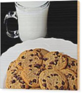 Cookies - Milk - Chocolate Chip - Baker Wood Print by Andee Design