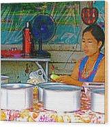 Cooking In The Marketplace In Tachilek-burma Wood Print