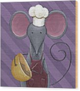 Cooking Mouse Kitchen Art Wood Print