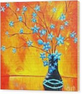 Cool Blue On Fire Wood Print