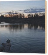 Cool Blue Ripples - Lake Shore Eventide Wood Print