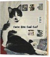 Cool Cat Greeting Card Wood Print