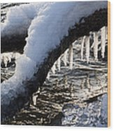 Cool Icicles Reflecting In The Waves  Wood Print
