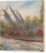 Cool Mountain River Wood Print
