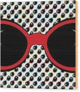 Cool Retro Red Sunglasses Wood Print