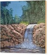 Cool Waterfall Wood Print