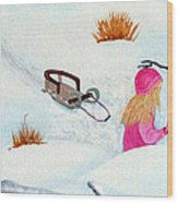 Cool  Winter Friend - Snowman - Fun Wood Print