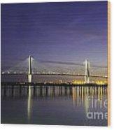 Cooper River Bridge Lights Glowing Wood Print