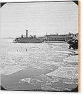 Cooper's Point Barge Hudson River C 1900 Wood Print