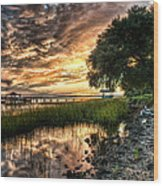Coosaw Plantation Sunset Wood Print