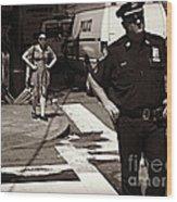 Cop And Girl - Mirror Image - New York City Street Scene Wood Print