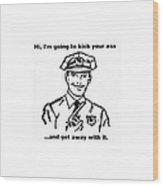 Cop Kicking Ass In White Wood Print