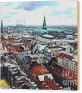 Copenhagen Roofs With Danish Parliament I Wood Print
