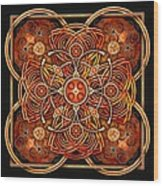 Copper And Gold Celtic Cross Wood Print