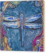 Copper Dragonfly Wood Print