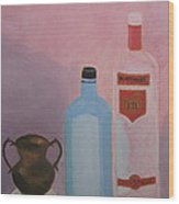 Copper Jug With Glass Bottles Wood Print
