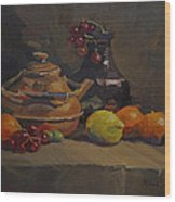 Copper Tea Pot And Fruit Wood Print