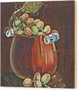 Copper Kettle Of Grapes Wood Print