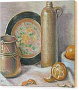 Copper Pot With Tangerines Wood Print by Theresa Shelton