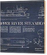 Copper River Steamboats Blueprint Wood Print