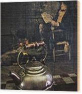 Copper Teapot Wood Print by Debra and Dave Vanderlaan
