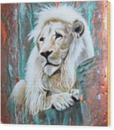 Copper White Lion Wood Print